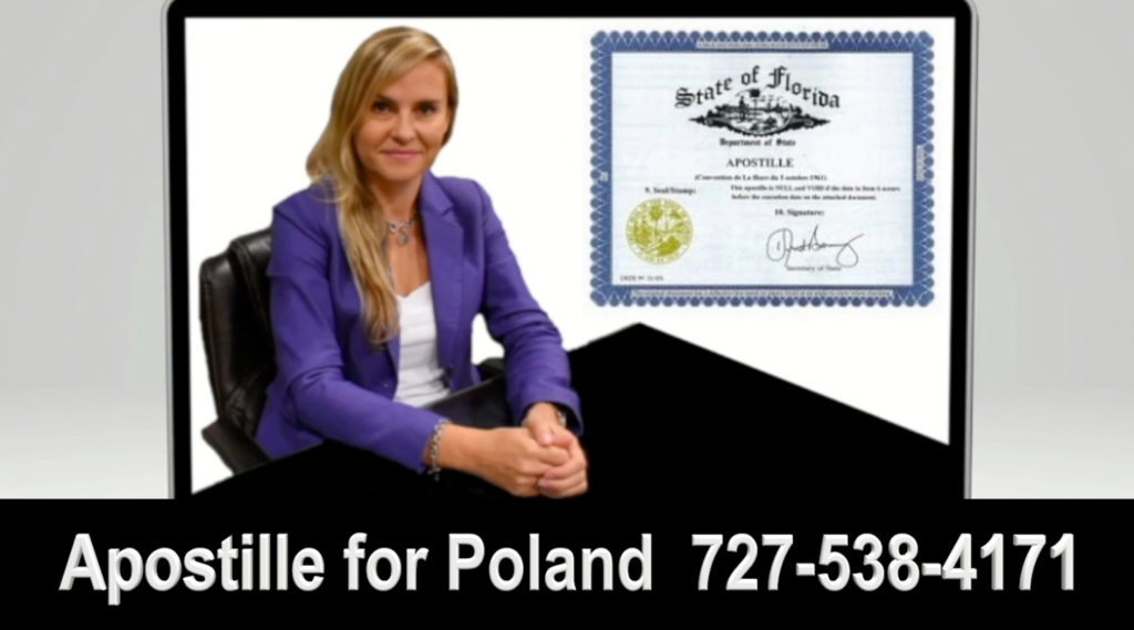 Agnieszka Piasecka is an attorney in Poland and the State of Florida. She can assist you with Apostille for Poland, Apostille for Power of Attorney for Poland, Apostille for Disclaimer of Inheritance for Poland, Apostille and Online Notary Services for Other documents, and the Translation of legal documents for immigration and other use.